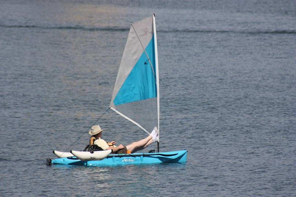 blue kayaks sail