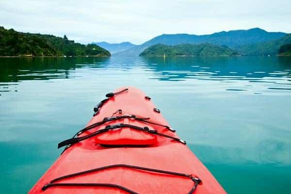 kayaking in calm water