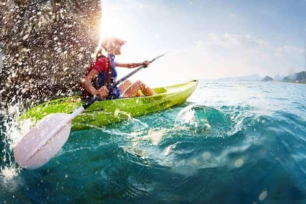 Paddling hard the kayak
